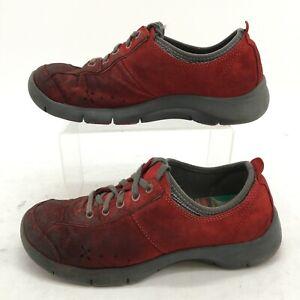 Dansko Outdoor Sneakers Womens 37 Red Suede Slip Resistant Low Top Comfort Shoes