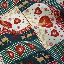 Navidad Gingham Patchwork Algodón 100% con Reno & Copos de nieve (por Metro)