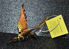 CLOISONNE PRECIOUS HUMMINGBIRD Articulated Enamel Ornament Austrian Crystal Gold