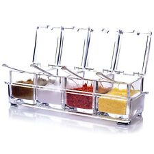Acrylic Spice Pots Condiment Jars Seasoning Box 4 Pieces Storage Containers Rack