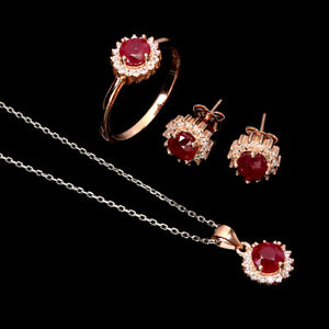 Round Red Ruby 5mm Cz 14K Rose Gold Plate 925 Sterling Silver Sets