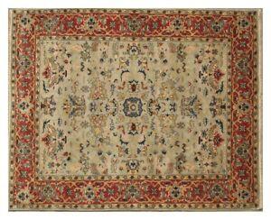 Living Room Handmade Carpet 8x10 ft Wool Light Gray Traditional Rug