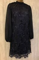 Ted Baker Amalie Floral Guipure Lace Long Sleeve Shift Ascot Party Dress 10 38