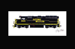 """Gateway Western GP40 #3008 11""""x17"""" Matted Print Andy Fletcher signed"""