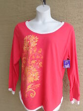 NWT Just  My Size L/S Scoop Neck Glitzy Graphic Twofer Tee Top Azalea Multi 5X