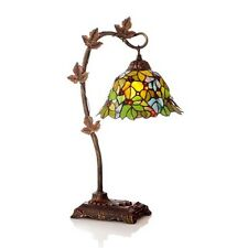 "Stained Glass Floral Leaf  23"" H Desk Table Lamp with Bowl Shade River of Goods"