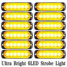 12x Waterproof Amber 6 LED Car Truck Strobe Flash Emergency Warning Lights Lamp