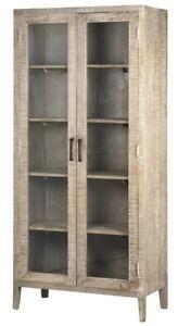 "78"" T Rita Vitrine Modern Beach Grey Finished Mango Wood Dual Glass Doors"