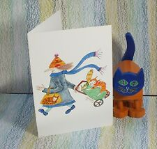 """Card: """"#MadCatWoman + shopping trolley Cat"""" #PeterBrighouseIllustrator"""