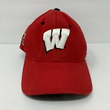 Wisconsin Badgers Strapback Hat Red Embroidered Logo & Mascot Colosseum Euc