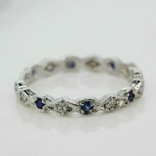 18ct White Gold Sapphire and Diamond Full Eternity Ring (Size N)