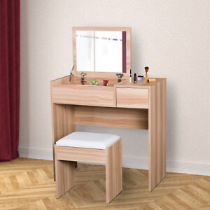 HOMCOM Dressing Table Set Cushioned Stool Flip-up Mirror Drawer Chipboard Wood