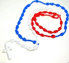 "Rope knotted Rosary Necklace Blue Red White Cord Rosary beads Long 31"" Rosarie"