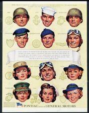 1944 USMC Army Navy Marines Coast Guard SPAR WAC WAVES nurse WWII art Pontiac ad
