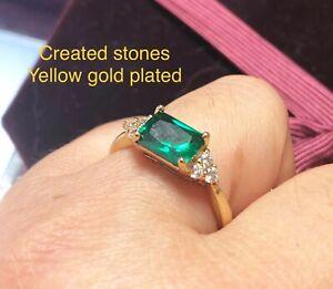 2ct emerald cut emerald DIAM0NDS ring uk size R us 9