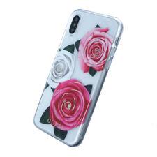 Carcasa iPhone X licencia Guess transparente flores