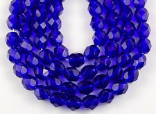 50 Fire Polished Czech Faceted Cobalt Blue Round Loose Craft Glass Beads 6mm