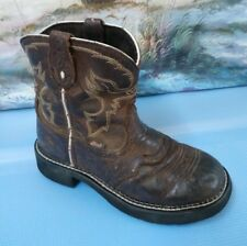 Justin Youth Leather Boots 2.5 D Brown Style 9909Y
