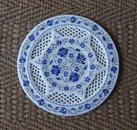 "12"" Rare Marble Plate Lapis Inlay Floral Arts Grill Work Mosaic Handmade Gifts"