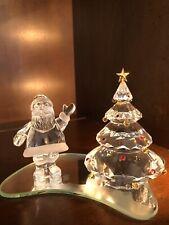 Authentic Swarovski Crystal Santa Claus & Christmas Tree On Mirror 1997