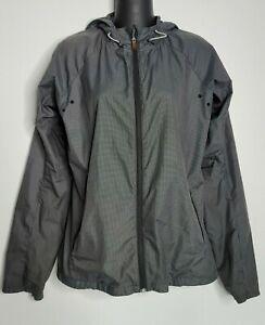 NIKE Women 542213 Vapor Lightweight Running Jacket Black Gray Check Hoodie READ