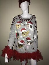 Lights Up Cat Kitten Santa Ugly Christmas Sweater Handmade