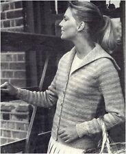 Ladies DK Striped Jacket w/ Sailor Collar Vintage Knitting Pattern Instructions