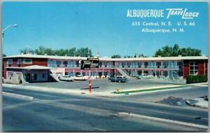 Albuquerque, New Mexico ROUTE 66 Roadside Postcard TRAVELODGE MOTEL / 1950s Cars