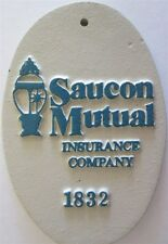 SAUCON MUTUAL Fire Insurance Company Cast Iron Mark/Plaque/Paperweight MARKER