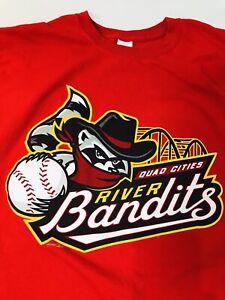 QUAD CITIES RIVER BANDITS Minor League Baseball T-shirt Men's Large Red VGU