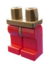 Lego Beine in rot Hosen dunkelbeige (dark tan) Hüfte für Minifiguren Neu 970c05