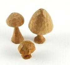 VTG Hand carved LOT OF 3 Toadstool Mushroom Whittled Handmade
