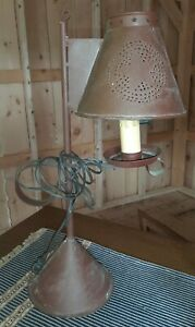 Farmhouse Rustic Reddish Brown Metal Tin Punched Table Lamp & Shade Primitive