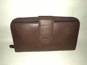 Vintage ROLFS Brown Leather Organizer Checkbook Clutch Wallet EUC!