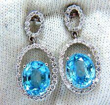 8.86ct natural vivid indigo blue zircon diamonds dangle earrings 14kt+