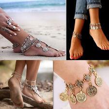 Bohemian Vintage Moon Lovers Turkish Coin Antalya Anklet Gypsy Beachy Bracelet