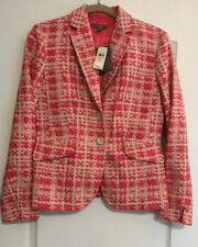 NWT $199 Ann Taylor Pink/White Houndstooth Cotton Blazer Jacket Lined Size 4