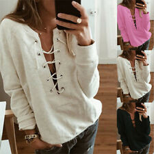 Women's Casual Long Sleeve Pullover Sweaters Solid Tops w/Criss-cross Strap
