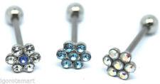Joyas de cristal de acero quirúrgico para lengua para el cuerpo