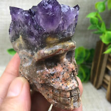 112g Free delivery of natural amethyst hand carved skull cluster healing 382