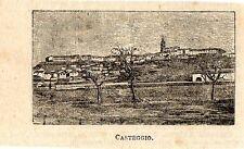 Stampa antica CASTEGGIO minuscola veduta panoramica Pavia 1896 Old Print