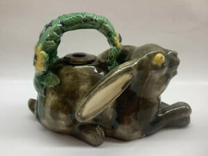 Vintage Rabbit Hare Majolica Teapot Made Portugal