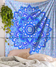 Indian cotton floral mandala wall hanging tapestry queen bedding bedspread throw