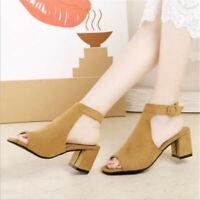 Womens Low Heel Peep Toe Buckle Mule Sandals Ladies Open Back Strap Ankle Shoes