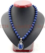 8mm Natural Blue Egyptian Lapis Lazuli Gemstone Snake Pendants Necklace 18'' AAA
