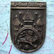 Mij- Boot Gottingen German Navy Ship Bronze Metal Tampion Plaque Crest