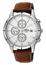 Lorus by Seiko Mens Analogue Alarm Leather Multi-dial Chronograph Watch RF325BX9