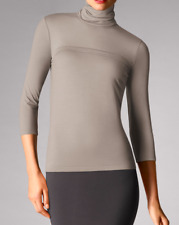 Wolford Women's Light Merino Turtleneck Pullover Silver Cloud Size L