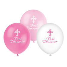 Pack of 8 Pink Radiant Cross Helium Quality First Communion Balloons - New