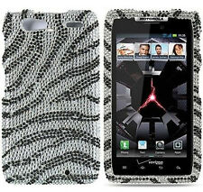 For Motorola DROID RAZR MAXX Crystal Diamond BLING Hard Case Phone Cover Zebra